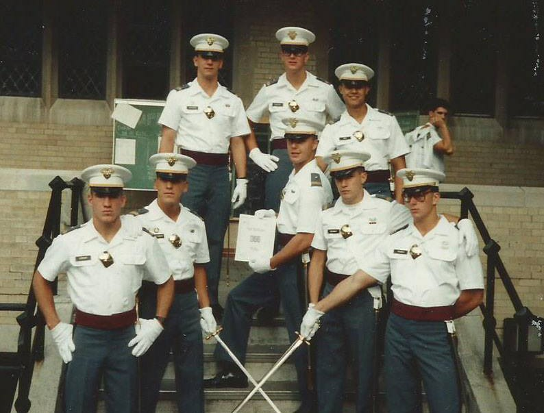 Cadet Mike Lenhart (bottom left) and seven fellow classmates; West Point (1990)